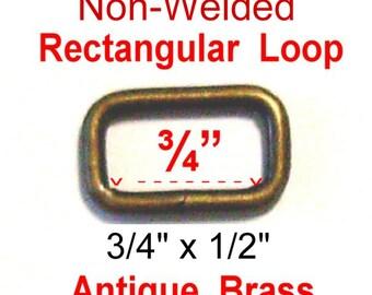 "20 PIECES - 3/4"" - SPLIT Rectangular Loop Rings, 3/4 inch, Antique Brass  Finish, .75"