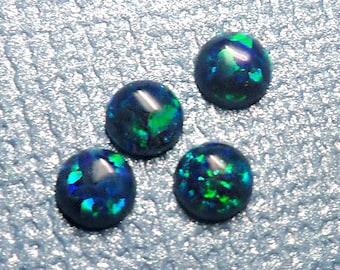 Dark Blue Round Opal Cabochons - Set of 4 - 2.5mm 3mm 4mm