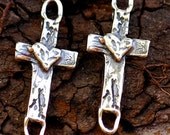 Two Cross with Heart Link or Charms in Sterling Silver, AD-51