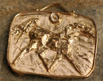 Horse Portrait Style Pendant in Gold Bronze