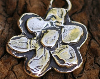 Artisan Layered Big Chunky Flower Charm in Sterling Silver -140As