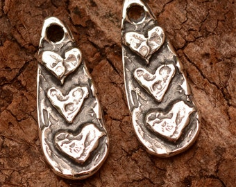 Trio of Hearts Dangle Charms in Sterling Silver, Two, CH-610