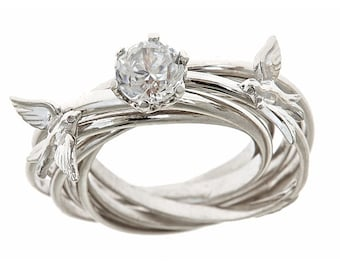 Custom Diamond Cut  Engagement Nest Ring Natural Zircon 1.57ct OOAK 14k White Gold and Sterling Silver Mix  Size 6.5