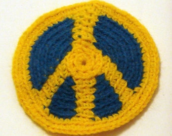 Peace patch in blue & yellow acrylic crochet