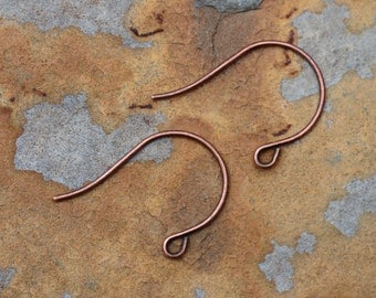 6 Antique Copper Earwire  26x18mm -  Nunn Designs