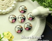 Glass Cabochon, 8mm 10mm 12mm 14mm 16mm 20mm 25mm 30mm Round Handmade photo glass Cabochons  (Birds) -- BCH230Y