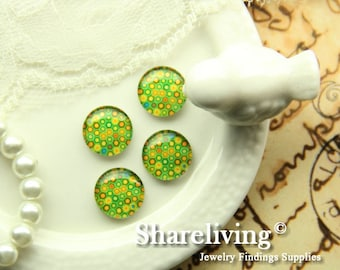 Glass Cabochon, 8mm 10mm 12mm 14mm 16mm 20mm 25mm 30mm Round Handmade photo glass Cabochons   -- BCH233G