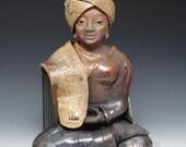 Buddha Statue in a Gold Turban and Shawl