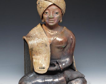 Buddha Statue in a Gold Turban and Shawl