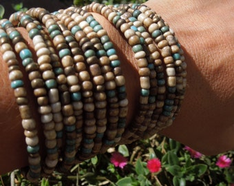 Natural earth tones & turquoise wire Bracelet