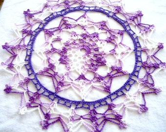"""Purple and White Variegated Colored Hand Crocheted Round Doily 10.5"""""""