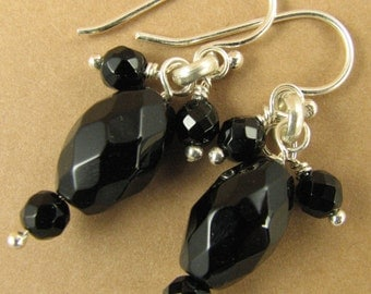 Black onyx and silver cluster earrings. Dangle. Sterling silver.