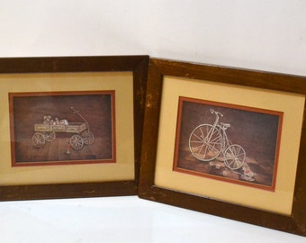 Vintage Framed Prints Antique Toys   11.5 x 9.5  set of two