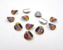 Vintage Swarovski crystal beads, pagoda volcano left article 5107 6mm, 12 pcs