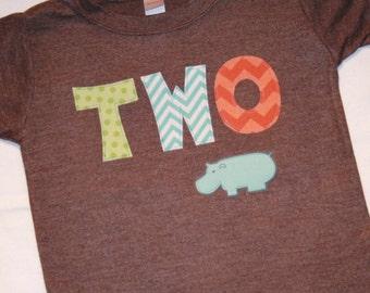 Boys Hippo TWO 2nd Birthday Shirt brown aqua green orange