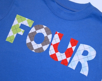 Boys Argyle FOUR shirt for 4th Birthday  - 4t short sleeve primary blue tshirt - lettering in gray red green and light blue
