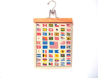 1883 Antique Illustration - Flags of All Nations from Cram's World Atlas Book Page - 14 x 11