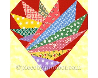 Feathers In My Heart quilt block pattern, paper pieced quilt patterns PDF instant download, heart quilt pattern, heart pattern wedding quilt