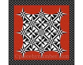 Sailor's Star Quilt pattern, paper piecing quilt pattern, mariner's compass pattern, lap throw quilt pattern, star pattern, sailboat pattern
