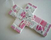 Pink Rose Mosaic Cross