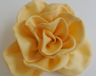Large Yellow Fabric Rose , Fabric Flower Brooch , Corsage Brooch Pin , Yellow Rose ,  Finished to Order ,  Hair Flower  , Yellow Wedding
