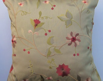 Sage Green Pillow Cover Embroidered with Rust and Brown Flowers -- 16x16