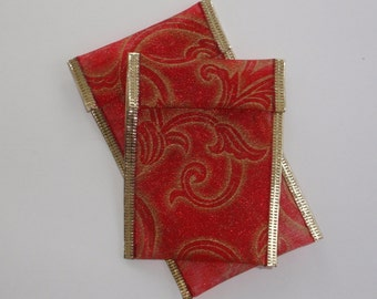 Jewelry Bead Pouches - 8 Red Gold and 8 cards 2 x 3