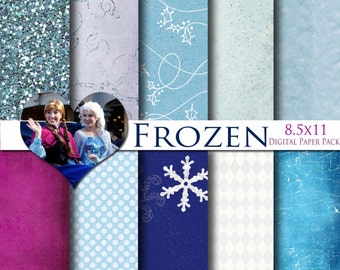 Disney Frozen Inspired 8.5x11 A4 Digital Paper Pack for Digital Scrapbooking, Party Supplies, etc -INSTANT DOWNLOAD -