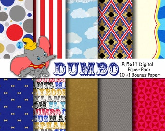 Dumbo Storybook Circus Inspired Digital Paper Backgrounds Pack - 8.5x11  - INSTANT DOWNLOAD
