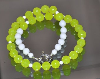 Jade Necklace, Neon Jade, White Agate, Gemstone necklace, Sterling Silver, Gemstone Jewelry, Bright Jewelry, Fashion