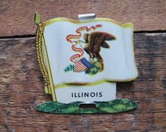 Vintage Illinois State Flag Metal Clip - Money Clip, Shirt Clip - USA, United States, America