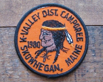Vintage Boy Scouts K-Valley District Camp Patch - 80s - Indian, Native American, Camping, Boy Scouts