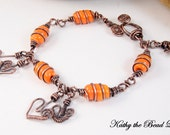 Lampwork Copper Wire Wrapped Bracelet
