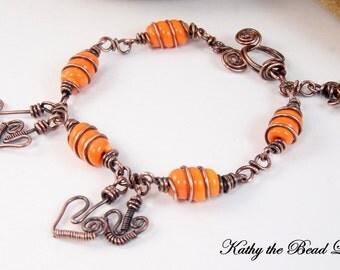 Lampwork Copper Wire Wrapped Bracelet