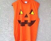 Halloween Pumpkin Face Muscle Tee Tank
