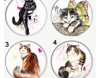 Cats Watercolor Style Magnets or Pinback Buttons or Flatback Medallions Set of 4