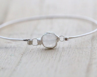 Moonstone Sterling Silver Bracelet , Bezel Wrapped ,  Goldm , Rose Gold White Stacking Bangle , Minimalist Fashion