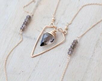 Arrowhead Geometric Necklace, Gold Filled Smoky Quartz, Triangle, Long Layering Fashion - Spearhead