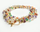 Arista Wrap with Mixed Semi-Precious Stones Long Layering Necklace/Bracelet Summer Fashion