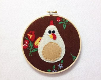 Chicken Wall Art, Fabric Wall Art - Polly the Ivory Chicken - Brown Floral Cherry Red