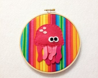 Fabric Wall Art - Patricia the Pink Jellyfish
