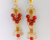 Royal Red - Brass and Red Agate Earrings