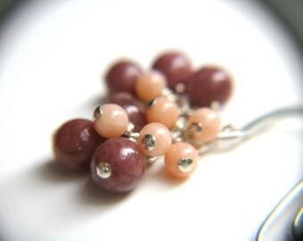 Pink Coral Earrings Cluster . Pink Gemstone Earrings . Rhodonite Earrings . Pink Stone Earrings Dangle - Victoria Collection . Duet Series
