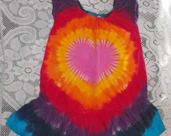 Rainbow Heart Tie Dye Toddler Dress