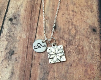 Quilt square initial necklace - quilter jewelry, gift for quilter, quilt square necklace, quilting necklace, silver quilt square necklace