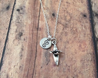 Kayak initial necklace - silver kayak charm necklace, kayak necklace, boat necklace, gift for kayaker, water sports necklace, kayak jewelry
