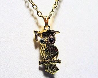 Vintage Owl Necklace, Monet Owl Pendant, Gold Necklace Chain, Ladies Jewelry