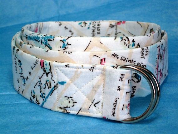 White Fabric Belt / SALE / Pastel D-ring Belt / Womens Ribbon Belt / Ladies Belt / Wide Belt Skinny Belt - Paris Map in white and pastels