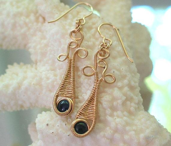 Tourmaline Wire Wrapped Earrings, Blue, Gemstone Jewelry, Dangle Earrings, Gold filled