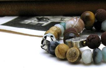 Opal Jasper Modern Beaded Bracelet, Brown Aqua Sterling Silver Stretch Bracelet, For Her Under 150